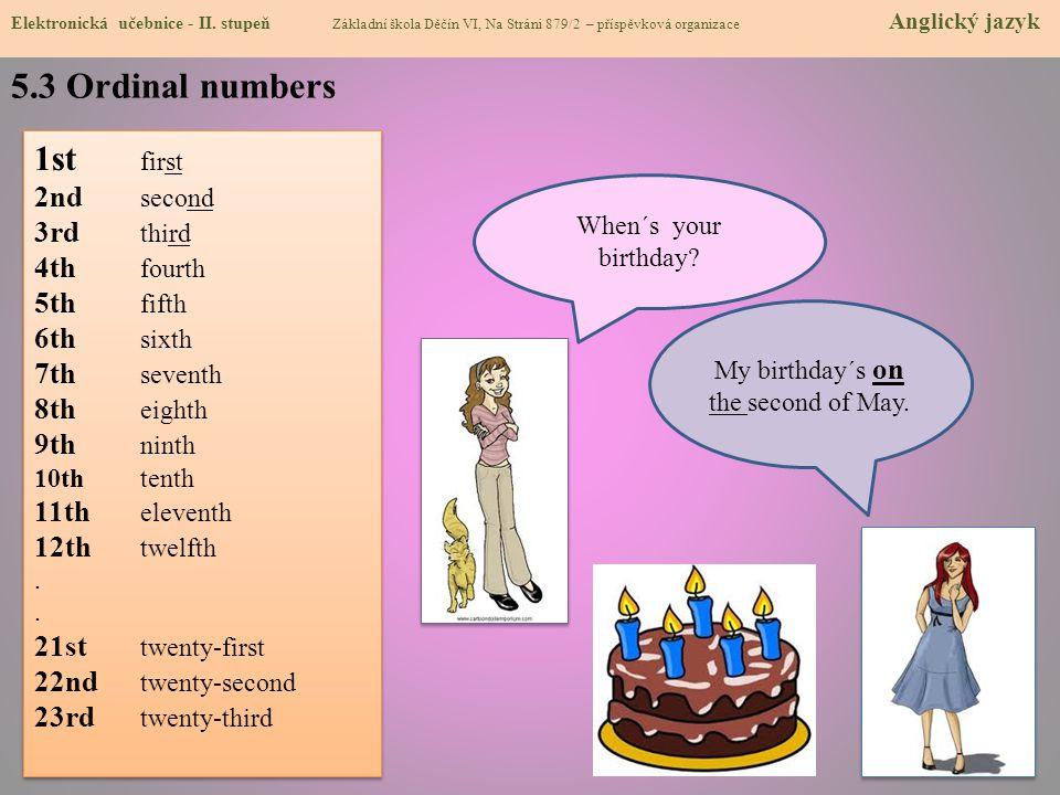 5.3 Ordinal numbers Elektronická učebnice - II.