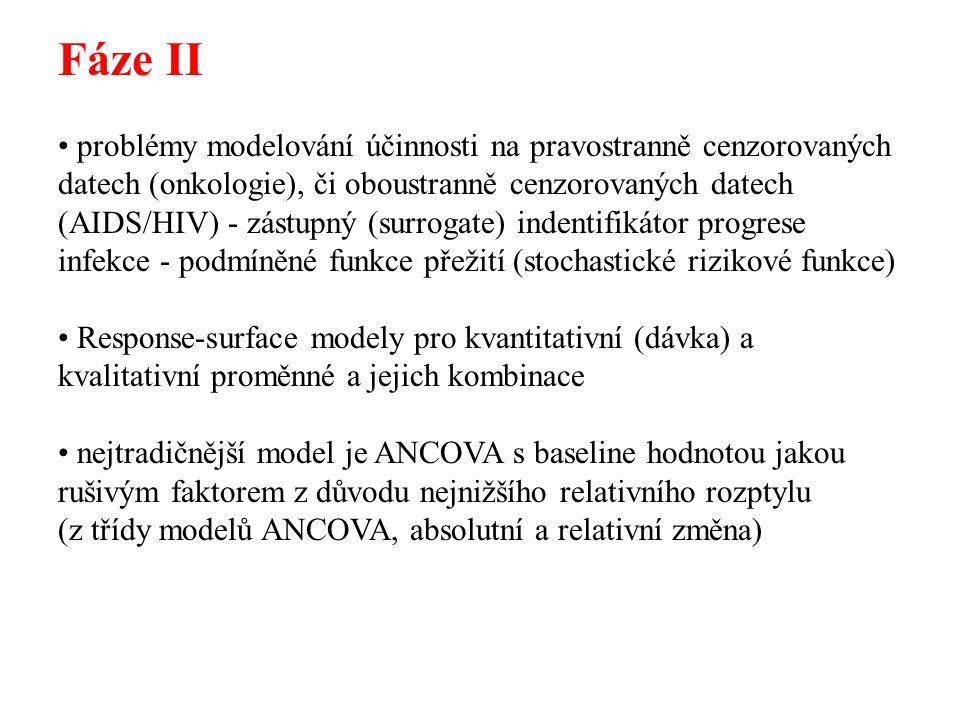 Fáze II problémy modelování účinnosti na pravostranně cenzorovaných datech (onkologie), či oboustranně cenzorovaných datech (AIDS/HIV) - zástupný (sur