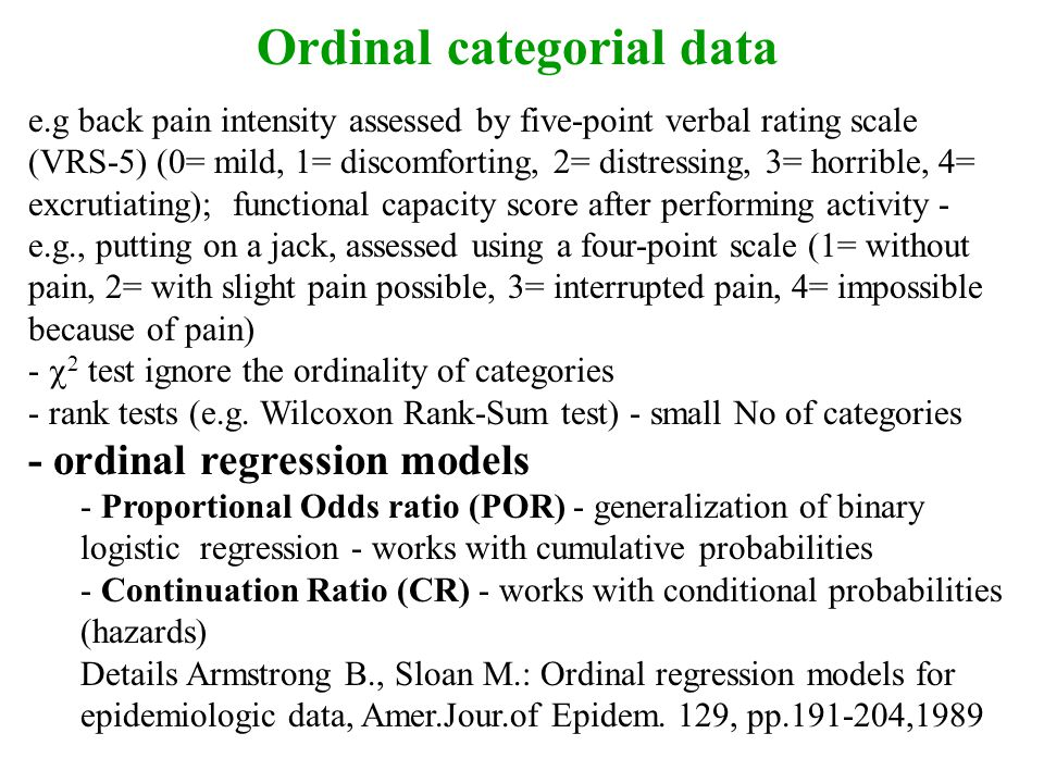Ordinal categorial data e.g back pain intensity assessed by five-point verbal rating scale (VRS-5) (0= mild, 1= discomforting, 2= distressing, 3= horr