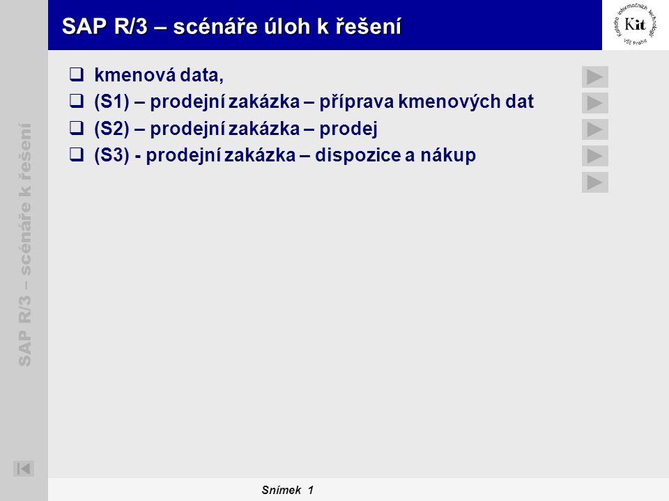 Snímek 1 SAP R/3 – scénáře k řešení SAP R/3 – scénáře úloh k řešení  kmenová data,  (S1) – prodejní zakázka – příprava kmenových dat  (S2) – prodej