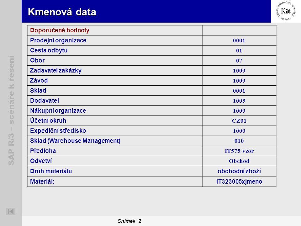 Snímek 2 SAP R/3 – scénáře k řešení Kmenová data Doporučené hodnoty Prodejní organizace 0001 Cesta odbytu 01 Obor 07 Zadavatel zakázky 1000 Závod 1000