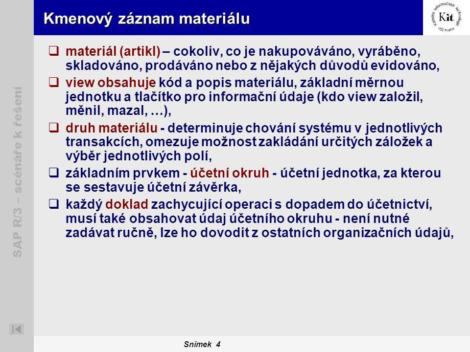 Snímek 4 SAP R/3 – scénáře k řešení Kmenový záznam materiálu  materiál (artikl) – cokoliv, co je nakupováváno, vyráběno, skladováno, prodáváno nebo z