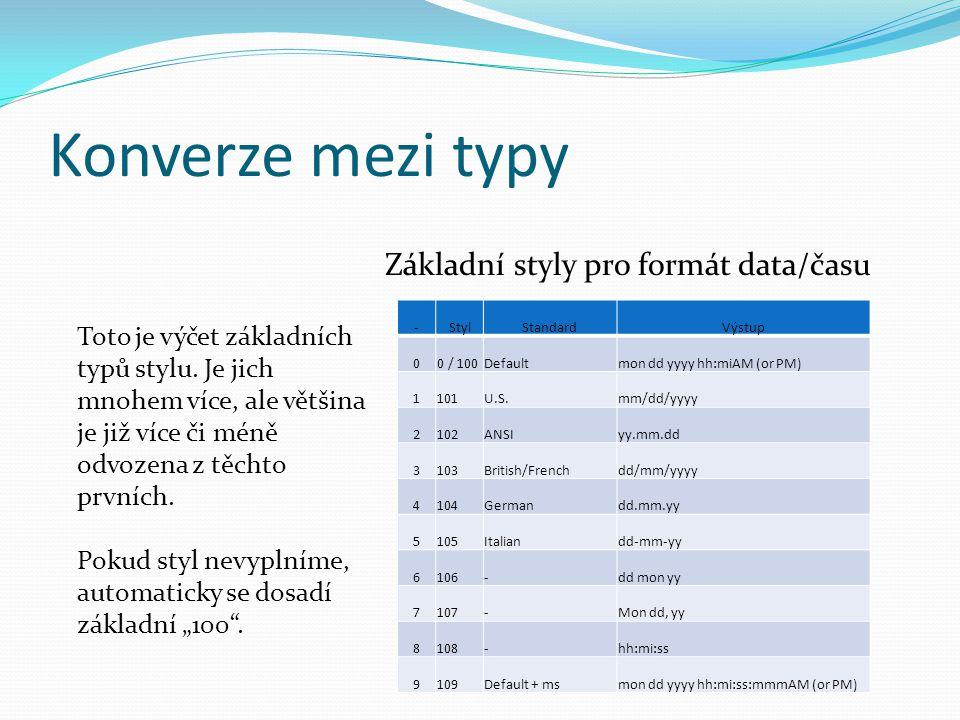 Konverze mezi typy -StylStandardVýstup 00 / 100Defaultmon dd yyyy hh:miAM (or PM) 1101U.S.mm/dd/yyyy 2102ANSIyy.mm.dd 3103British/Frenchdd/mm/yyyy 4104Germandd.mm.yy 5105Italiandd-mm-yy 6106-dd mon yy 7107-Mon dd, yy 8108-hh:mi:ss 9109Default + msmon dd yyyy hh:mi:ss:mmmAM (or PM) Základní styly pro formát data/času Toto je výčet základních typů stylu.