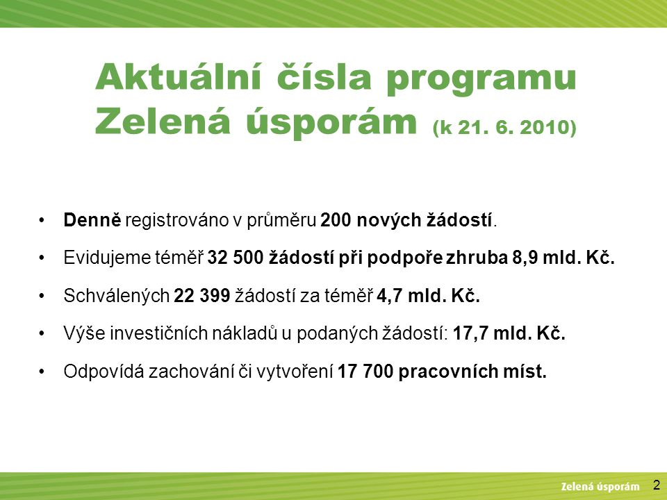2 Aktuální čísla programu Zelená úsporám (k 21.6.