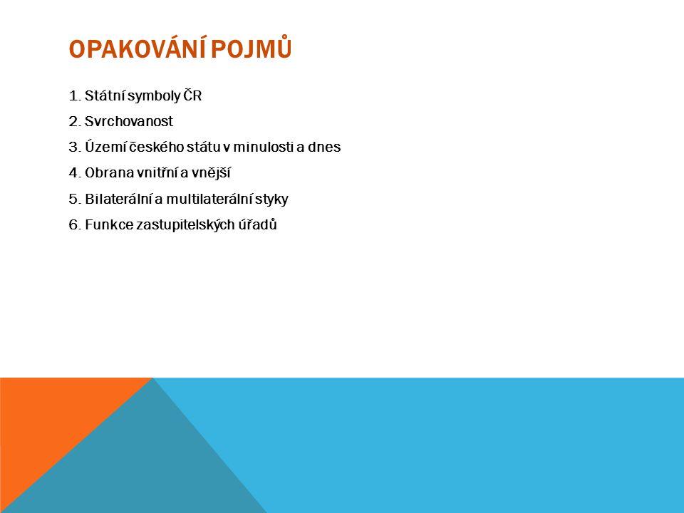 OPAKOVÁNÍ POJMŮ 1.Státní symboly ČR 2. Svrchovanost 3.