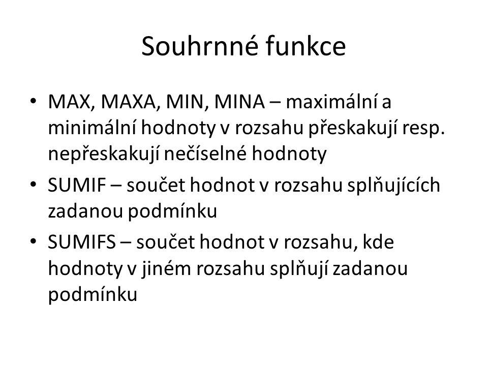 Souhrnné funkce MAX, MAXA, MIN, MINA – maximální a minimální hodnoty v rozsahu přeskakují resp. nepřeskakují nečíselné hodnoty SUMIF – součet hodnot v