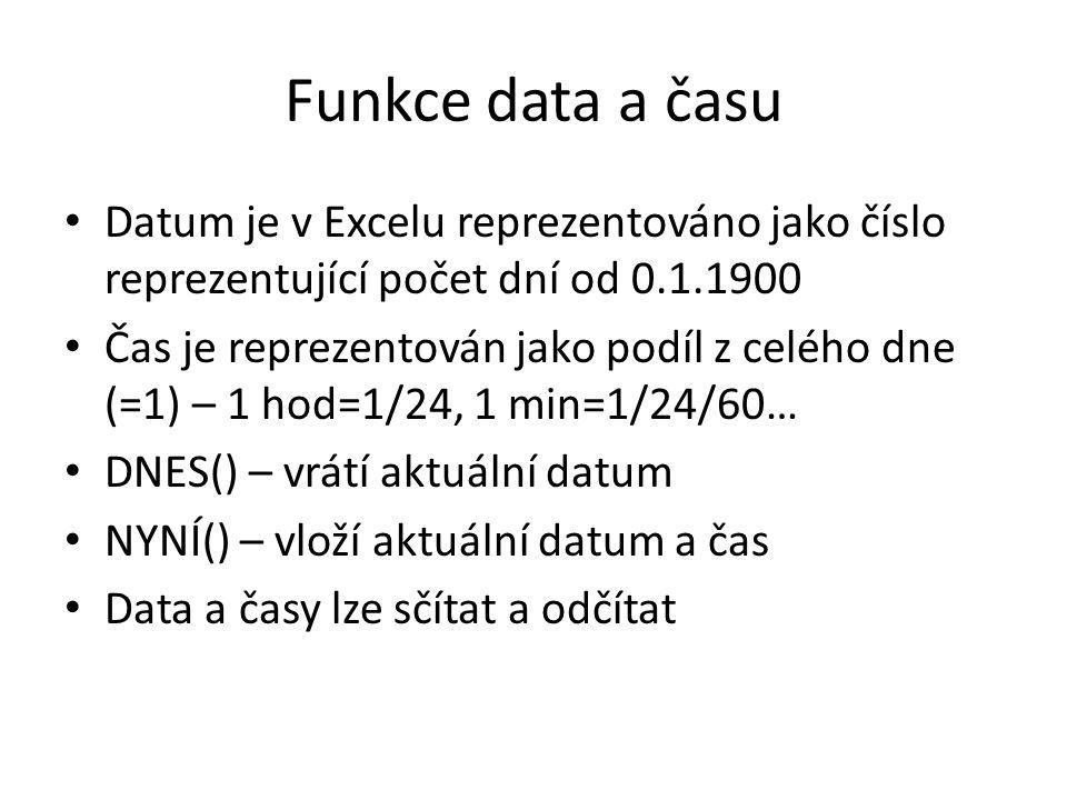 Funkce data a času Datum je v Excelu reprezentováno jako číslo reprezentující počet dní od 0.1.1900 Čas je reprezentován jako podíl z celého dne (=1)