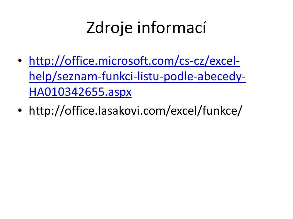 Zdroje informací http://office.microsoft.com/cs-cz/excel- help/seznam-funkci-listu-podle-abecedy- HA010342655.aspx http://office.microsoft.com/cs-cz/e