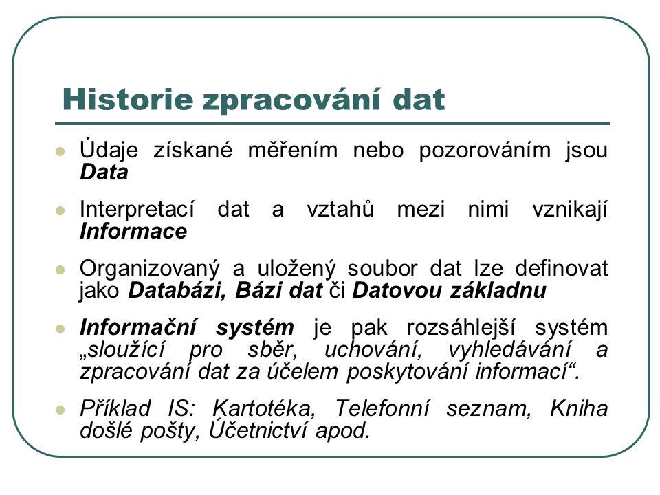 """Historie zpracování dat Údaje získané měřením nebo pozorováním jsou Data Interpretací dat a vztahů mezi nimi vznikají Informace Organizovaný a uložený soubor dat lze definovat jako Databázi, Bázi dat či Datovou základnu Informační systém je pak rozsáhlejší systém """"sloužící pro sběr, uchování, vyhledávání a zpracování dat za účelem poskytování informací ."""