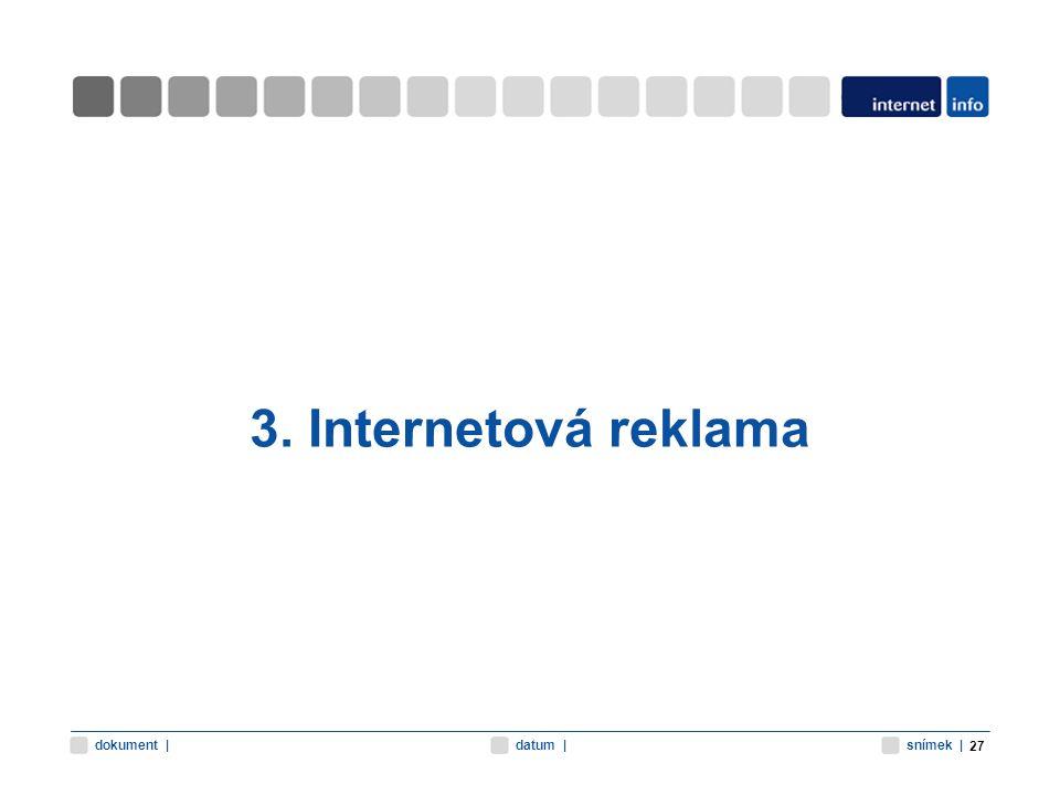 snímek |datum |dokument | 3. Internetová reklama 27