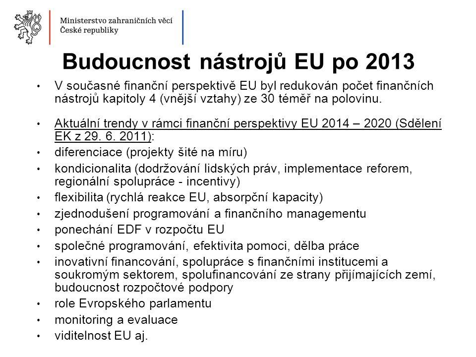 Budoucnost nástrojů EU po 2013 V současné finanční perspektivě EU byl redukován počet finančních nástrojů kapitoly 4 (vnější vztahy) ze 30 téměř na po