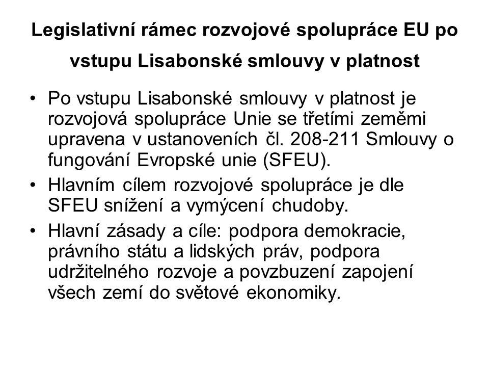 Legislativní rámec rozvojové spolupráce EU po vstupu Lisabonské smlouvy v platnost Po vstupu Lisabonské smlouvy v platnost je rozvojová spolupráce Uni