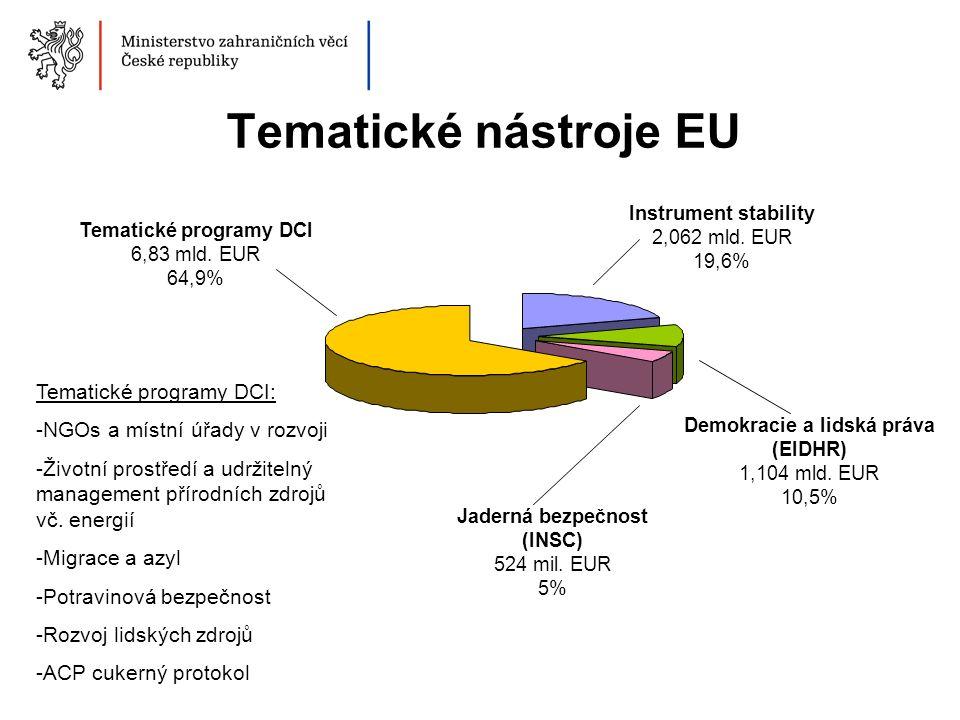 Tematické nástroje EU Tematické programy DCI 6,83 mld. EUR 64,9% Instrument stability 2,062 mld. EUR 19,6% Demokracie a lidská práva (EIDHR) 1,104 mld