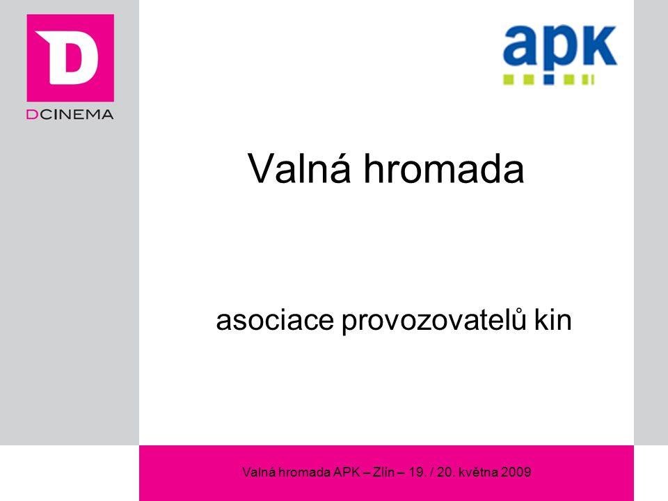 Valná hromada APK – Zlín – 19. / 20. května 2009 Valná hromada asociace provozovatelů kin