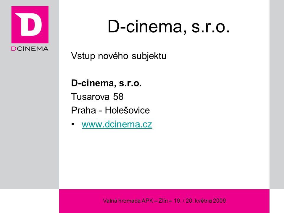 Valná hromada APK – Zlín – 19. / 20. května 2009 D-cinema, s.r.o.