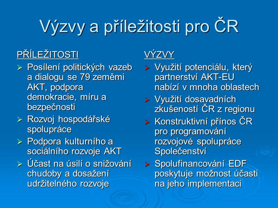 Výzvy a příležitosti pro ČR PŘÍLEŽITOSTI  Posílení politických vazeb a dialogu se 79 zeměmi AKT, podpora demokracie, míru a bezpečnosti  Rozvoj hosp