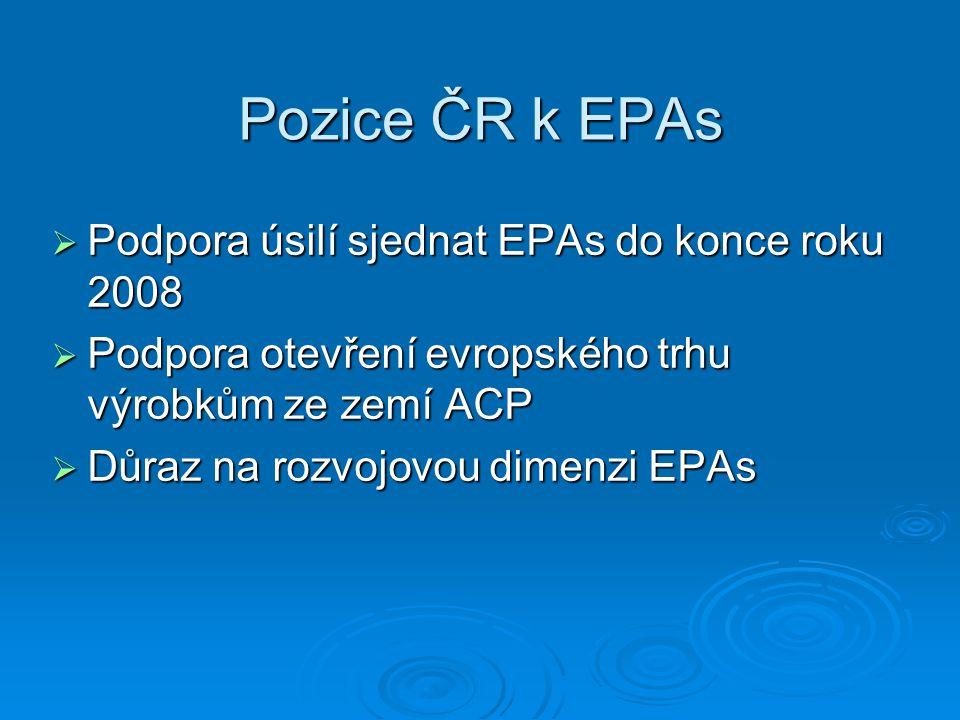 Pozice ČR k EPAs  Podpora úsilí sjednat EPAs do konce roku 2008  Podpora otevření evropského trhu výrobkům ze zemí ACP  Důraz na rozvojovou dimenzi EPAs