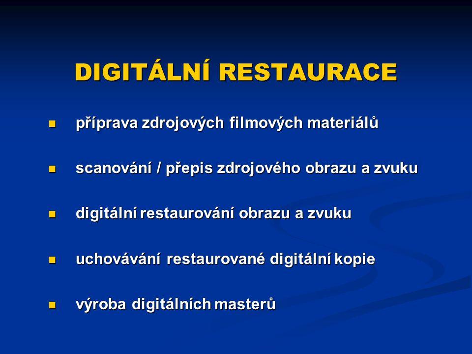 DIGITÁLNÍ RESTAURACE příprava zdrojových filmových materiálů scanování / přepis zdrojového obrazu a zvuku digitální restaurování obrazu a zvuku uchová