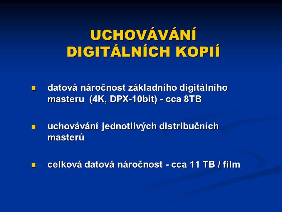 UCHOVÁVÁNÍ DIGITÁLNÍCH KOPIÍ datová náročnost základního digitálního masteru (4K, DPX-10bit) - cca 8TB uchovávání jednotlivých distribučních masterů c