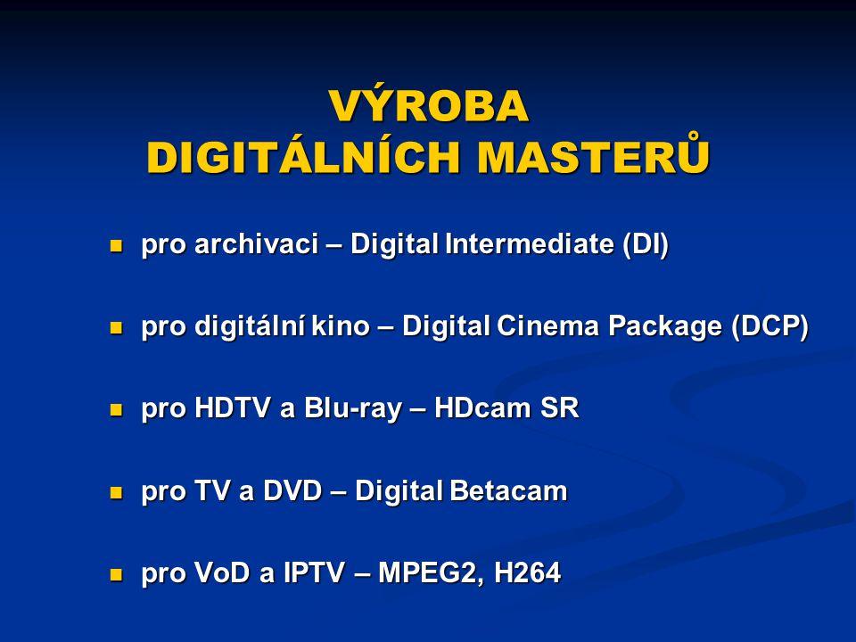 VÝROBA DIGITÁLNÍCH MASTERŮ pro archivaci – Digital Intermediate (DI) pro digitální kino – Digital Cinema Package (DCP) pro HDTV a Blu-ray – HDcam SR p