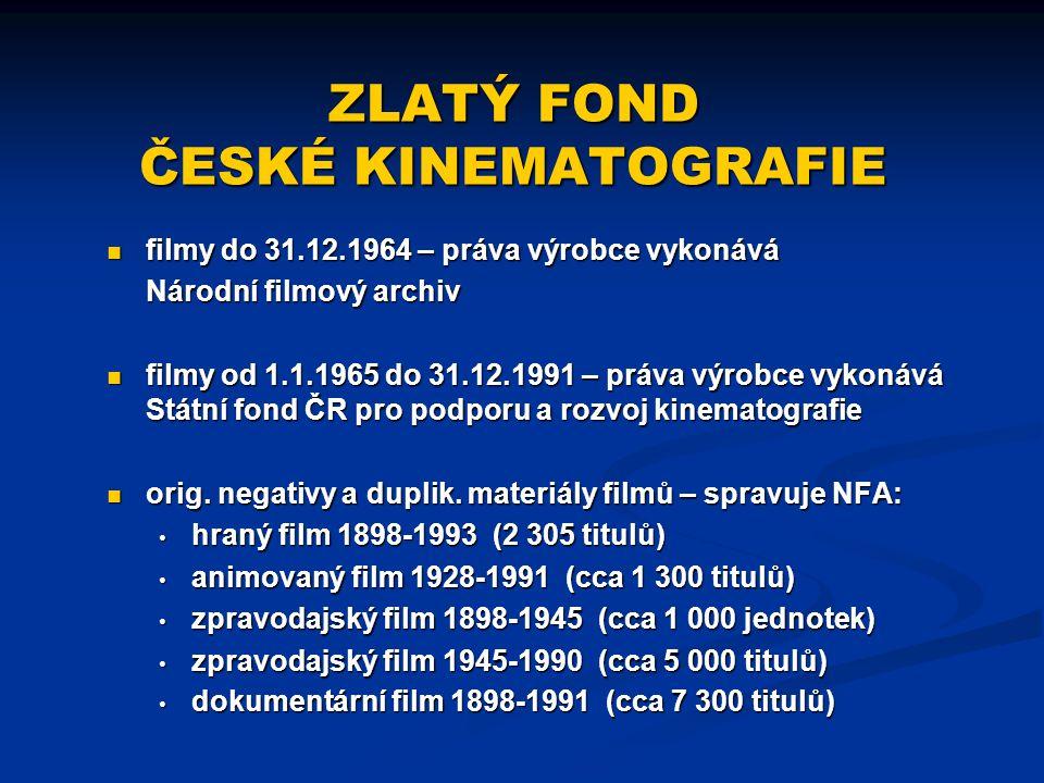 ZLATÝ FOND ČESKÉ KINEMATOGRAFIE filmy do 31.12.1964 – práva výrobce vykonává Národní filmový archiv filmy od 1.1.1965 do 31.12.1991 – práva výrobce vy