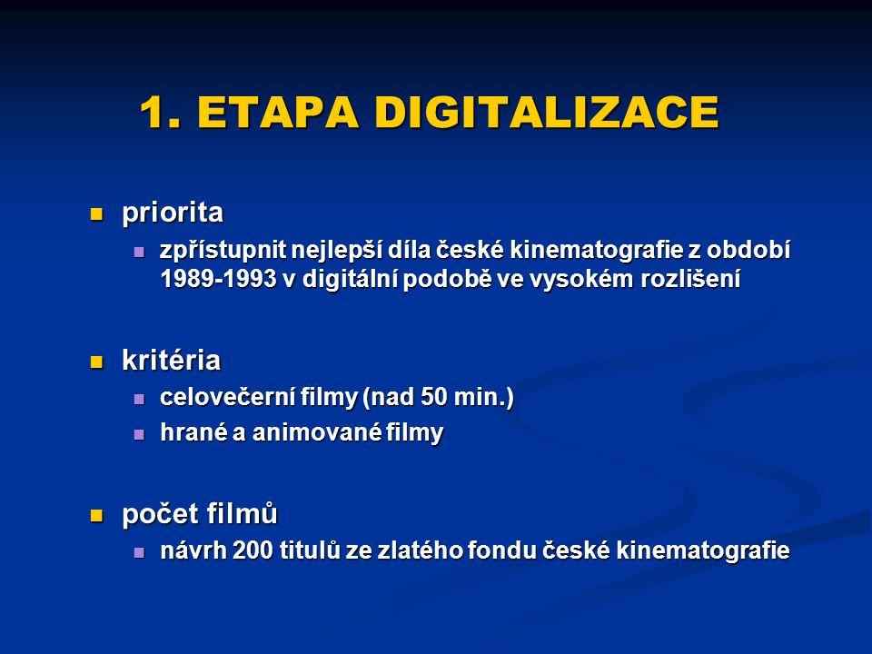1. ETAPA DIGITALIZACE priorita zpřístupnit nejlepší díla české kinematografie z období 1989-1993 v digitální podobě ve vysokém rozlišení kritéria celo
