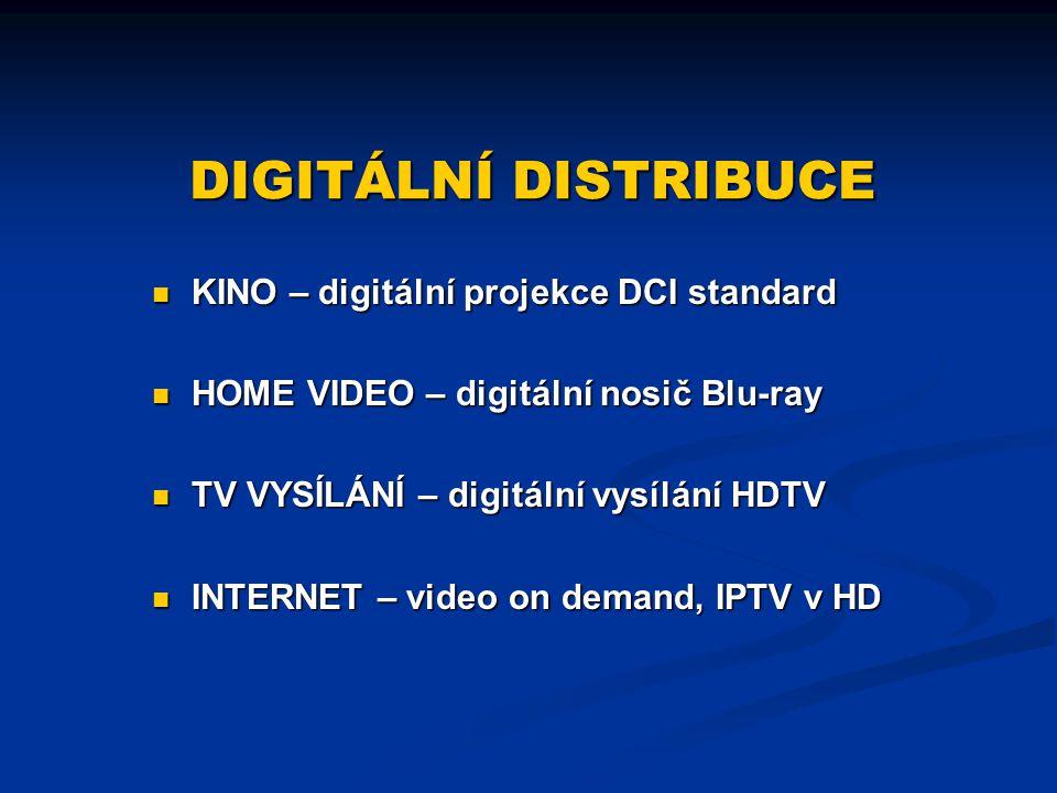DIGITÁLNÍ DISTRIBUCE KINO – digitální projekce DCI standard HOME VIDEO – digitální nosič Blu-ray TV VYSÍLÁNÍ – digitální vysílání HDTV INTERNET – vide