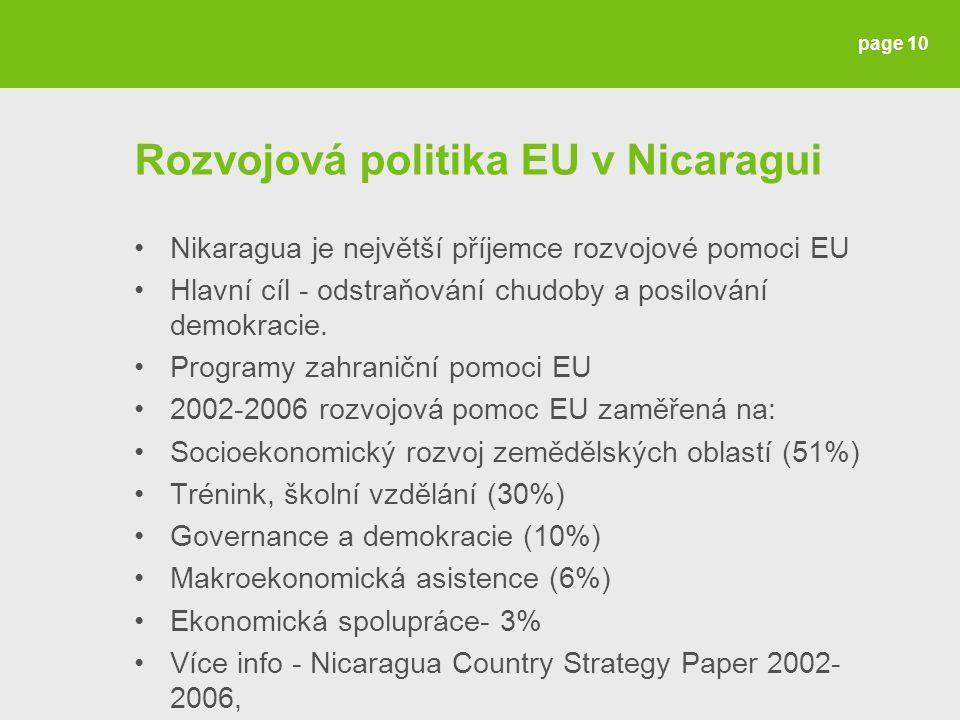 Rozvojová politika EU v Nicaragui Nikaragua je největší příjemce rozvojové pomoci EU Hlavní cíl - odstraňování chudoby a posilování demokracie.
