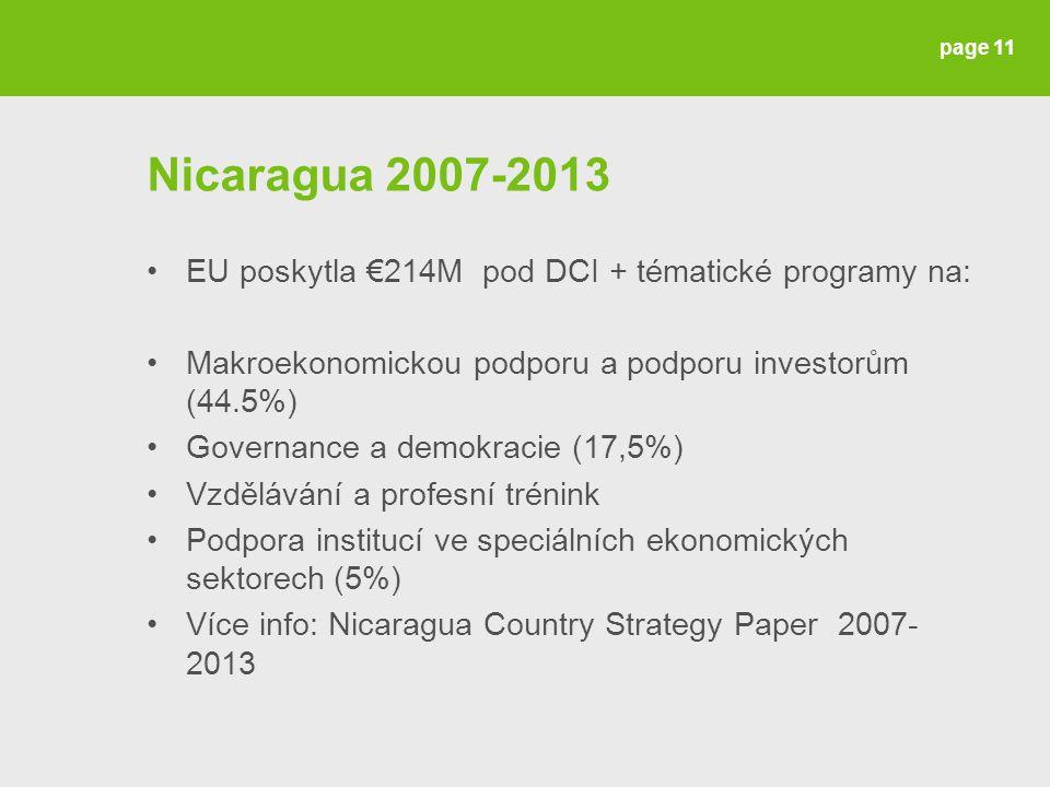 Nicaragua 2007-2013 EU poskytla €214M pod DCI + tématické programy na: Makroekonomickou podporu a podporu investorům (44.5%) Governance a demokracie (17,5%) Vzdělávání a profesní trénink Podpora institucí ve speciálních ekonomických sektorech (5%) Více info: Nicaragua Country Strategy Paper 2007- 2013 page 11