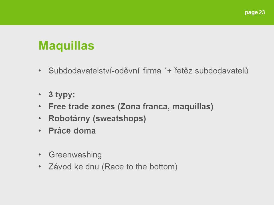 Maquillas Subdodavatelství-oděvní firma ´+ řetěz subdodavatelů 3 typy: Free trade zones (Zona franca, maquillas) Robotárny (sweatshops) Práce doma Greenwashing Závod ke dnu (Race to the bottom) page 23