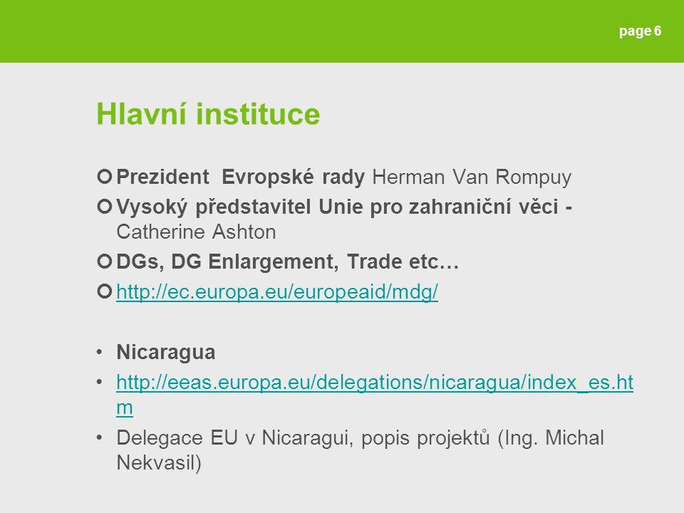 Hlavní instituce Prezident Evropské rady Herman Van Rompuy Vysoký představitel Unie pro zahraniční věci - Catherine Ashton DGs, DG Enlargement, Trade etc… http://ec.europa.eu/europeaid/mdg/ Nicaragua http://eeas.europa.eu/delegations/nicaragua/index_es.ht mhttp://eeas.europa.eu/delegations/nicaragua/index_es.ht m Delegace EU v Nicaragui, popis projektů (Ing.