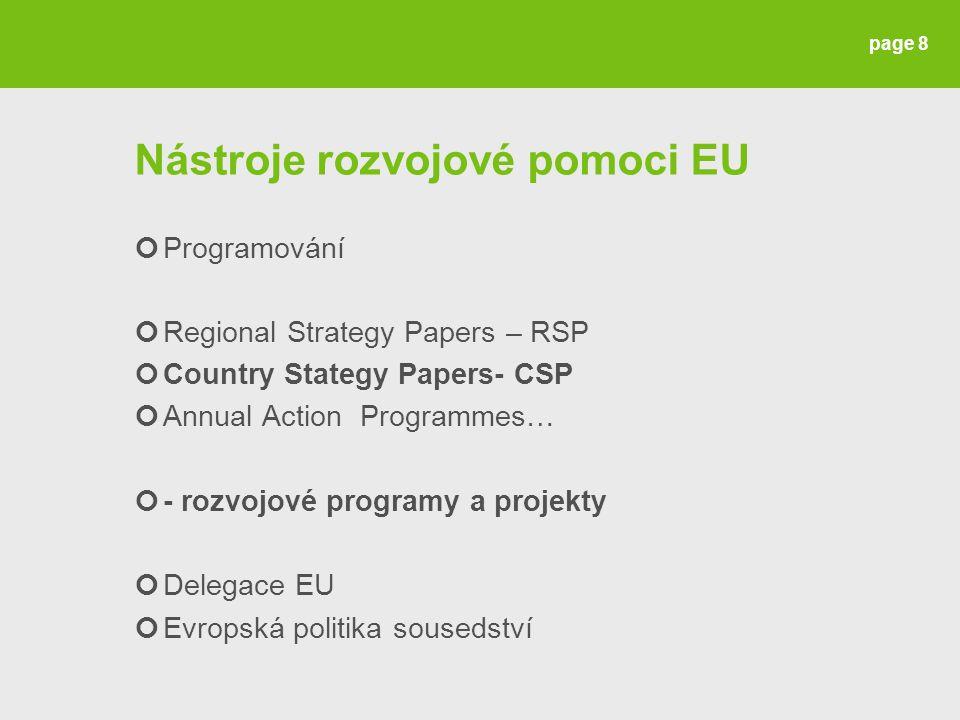 Nástroje rozvojové pomoci EU Programování Regional Strategy Papers – RSP Country Stategy Papers- CSP Annual Action Programmes… - rozvojové programy a projekty Delegace EU Evropská politika sousedství page 8
