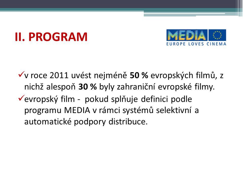II. PROGRAM v roce 2011 uvést nejméně 50 % evropských filmů, z nichž alespoň 30 % byly zahraniční evropské filmy. evropský film - pokud splňuje defini
