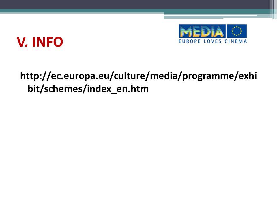 V. INFO http://ec.europa.eu/culture/media/programme/exhi bit/schemes/index_en.htm