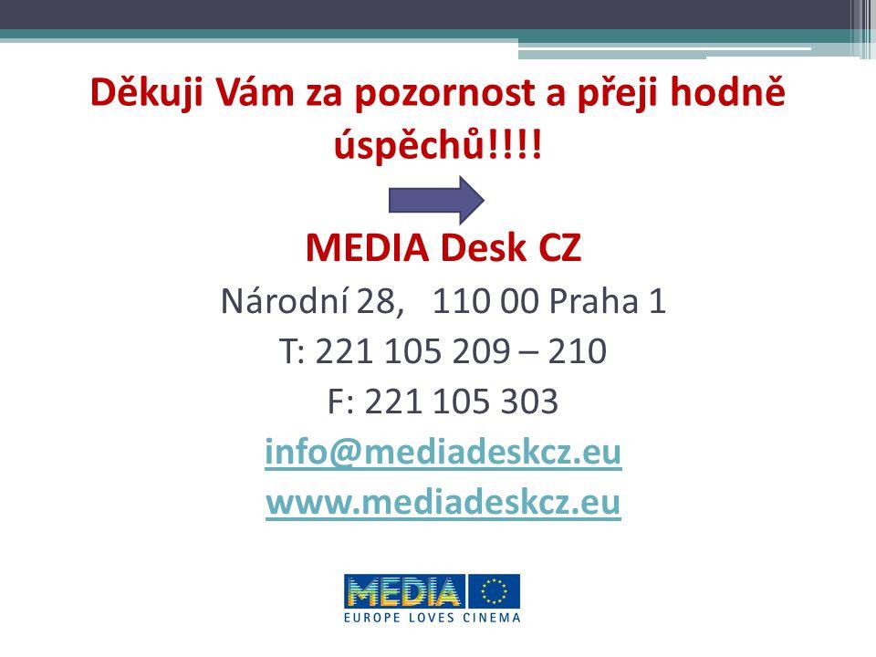 Děkuji Vám za pozornost a přeji hodně úspěchů!!!! MEDIA Desk CZ Národní 28, 110 00 Praha 1 T: 221 105 209 – 210 F: 221 105 303 info@mediadeskcz.eu www