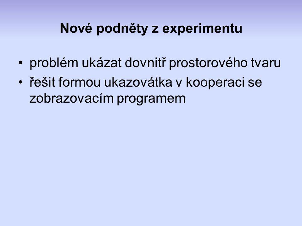 Nové podněty z experimentu problém ukázat dovnitř prostorového tvaru řešit formou ukazovátka v kooperaci se zobrazovacím programem