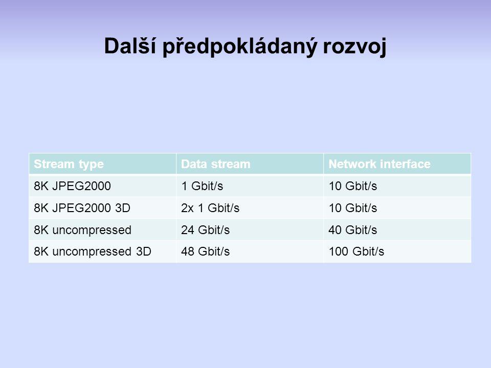 Další předpokládaný rozvoj Stream typeData streamNetwork interface 8K JPEG20001 Gbit/s10 Gbit/s 8K JPEG2000 3D2x 1 Gbit/s10 Gbit/s 8K uncompressed24 Gbit/s40 Gbit/s 8K uncompressed 3D48 Gbit/s100 Gbit/s