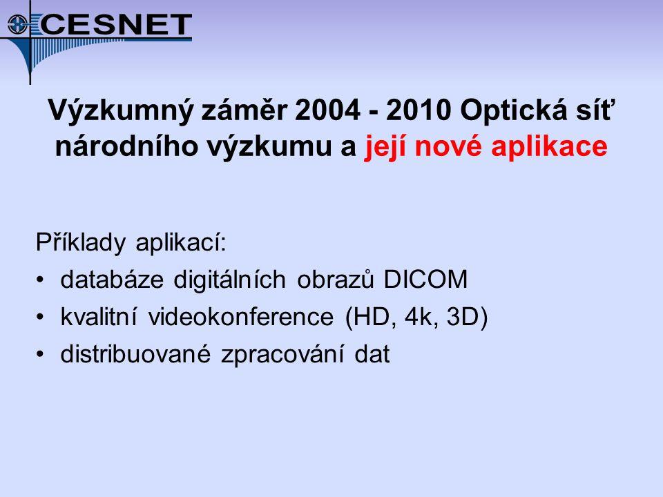 Výzkumný záměr 2004 - 2010 Optická síť národního výzkumu a její nové aplikace Příklady aplikací: databáze digitálních obrazů DICOM kvalitní videokonference (HD, 4k, 3D) distribuované zpracování dat