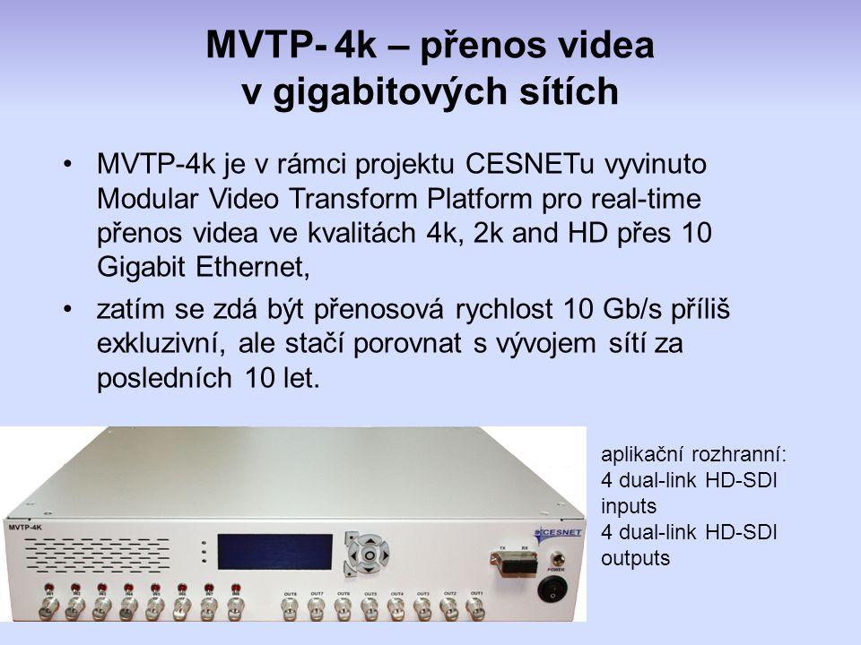 MVTP- 4k – přenos videa v gigabitových sítích aplikační rozhranní: 4 dual-link HD-SDI inputs 4 dual-link HD-SDI outputs MVTP-4k je v rámci projektu CESNETu vyvinuto Modular Video Transform Platform pro real-time přenos videa ve kvalitách 4k, 2k and HD přes 10 Gigabit Ethernet, zatím se zdá být přenosová rychlost 10 Gb/s příliš exkluzivní, ale stačí porovnat s vývojem sítí za posledních 10 let.