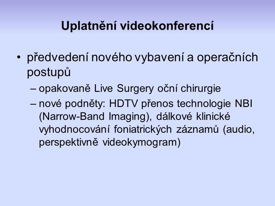 Uplatnění videokonferencí předvedení nového vybavení a operačních postupů –opakovaně Live Surgery oční chirurgie –nové podněty: HDTV přenos technologie NBI (Narrow-Band Imaging), dálkové klinické vyhodnocování foniatrických záznamů (audio, perspektivně videokymogram)