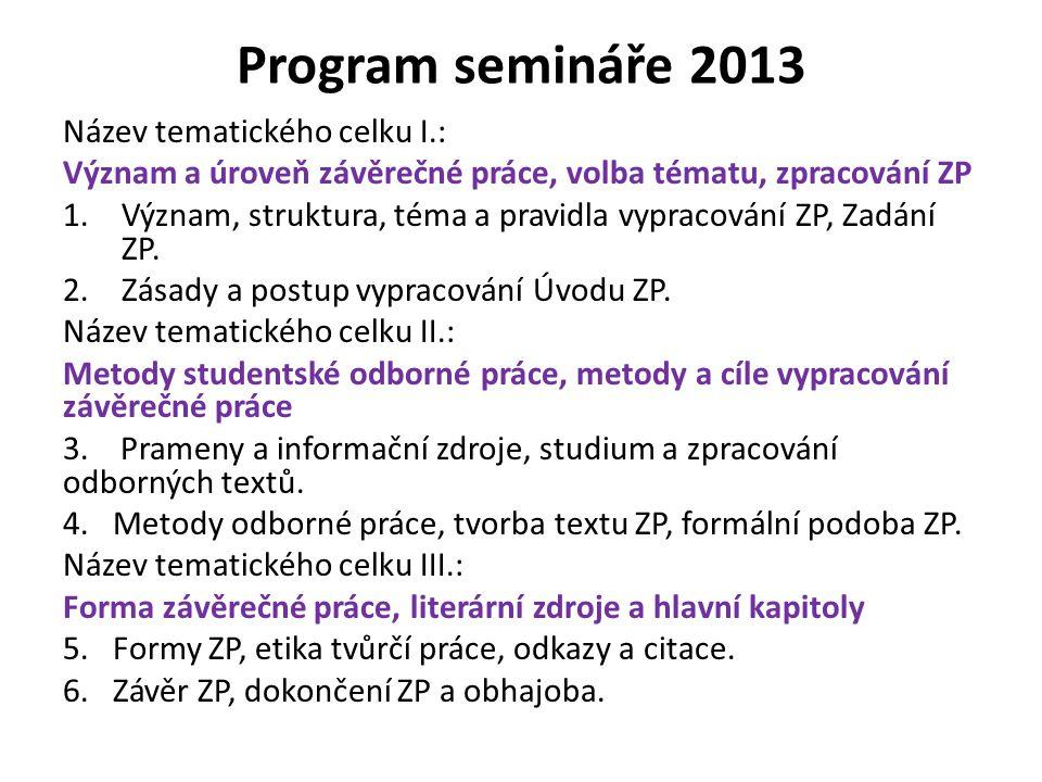 Program semináře 2013 Název tematického celku I.: Význam a úroveň závěrečné práce, volba tématu, zpracování ZP 1.Význam, struktura, téma a pravidla vy