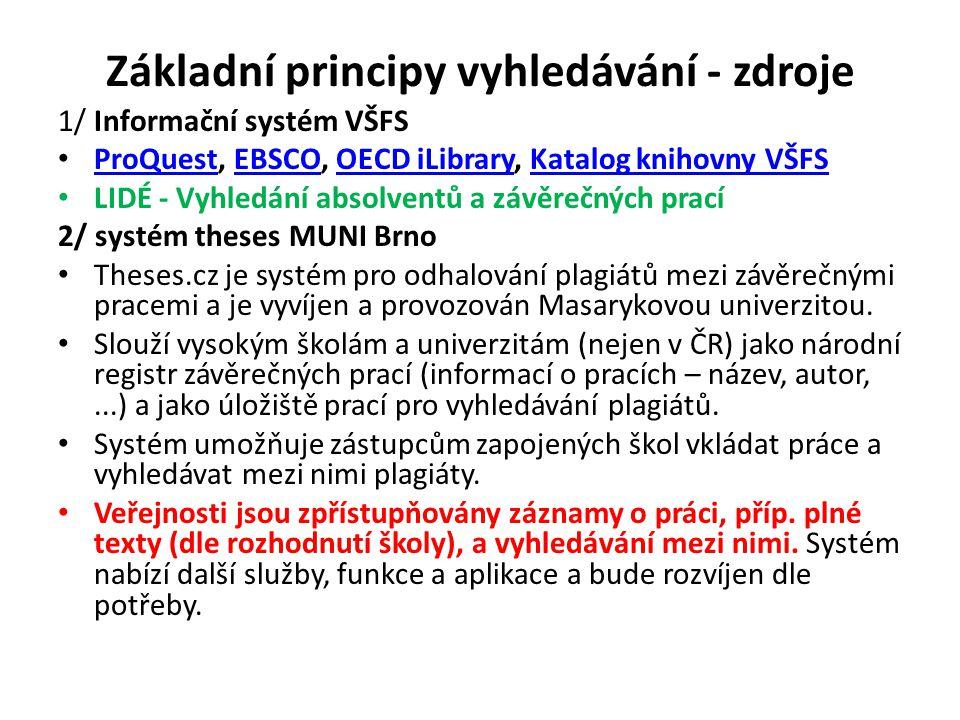 Základní principy vyhledávání - zdroje 1/ Informační systém VŠFS ProQuest, EBSCO, OECD iLibrary, Katalog knihovny VŠFS ProQuestEBSCOOECD iLibraryKatal