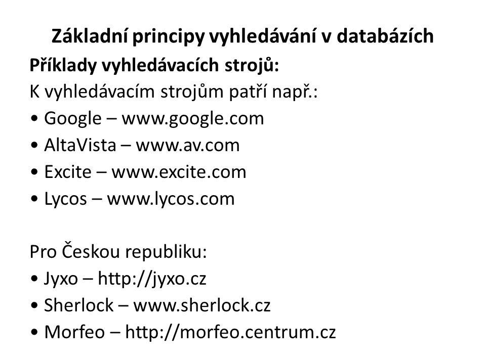 Základní principy vyhledávání v databázích Příklady vyhledávacích strojů: K vyhledávacím strojům patří např.: Google – www.google.com AltaVista – www.