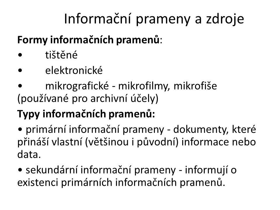 Informační prameny a zdroje Formy informačních pramenů: tištěné elektronické mikrografické - mikrofilmy, mikrofiše (používané pro archivní účely) Typy