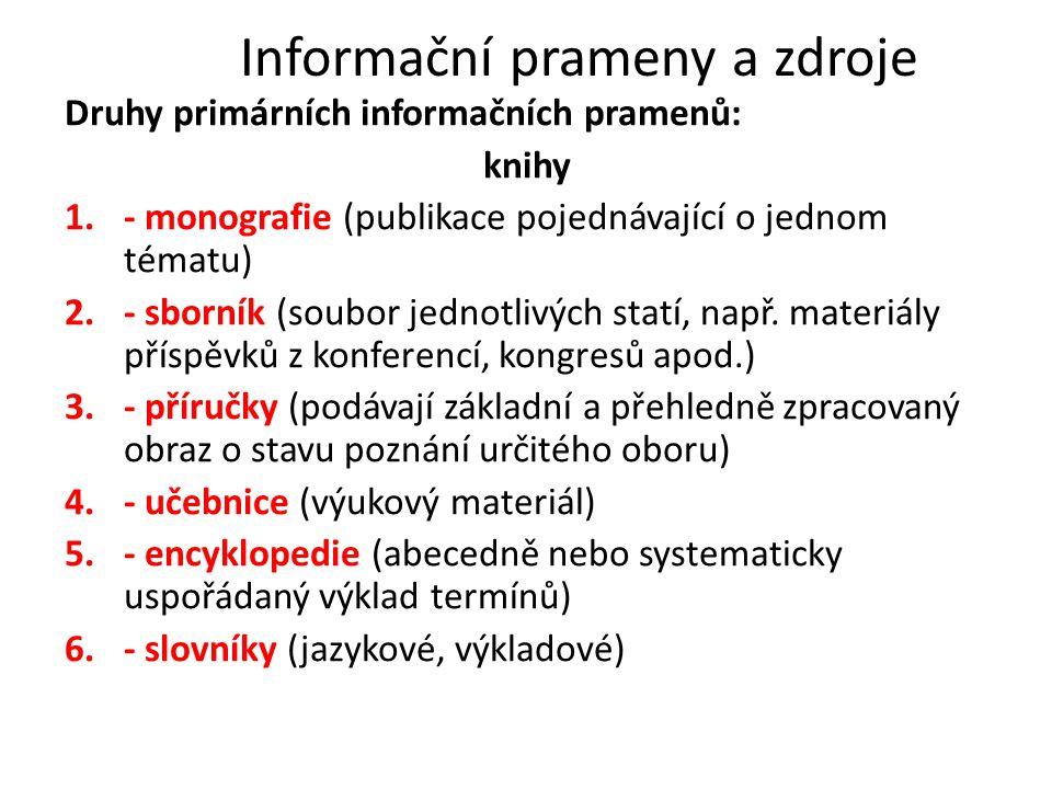 Informační prameny a zdroje Druhy primárních informačních pramenů: knihy 1.- monografie (publikace pojednávající o jednom tématu) 2.- sborník (soubor