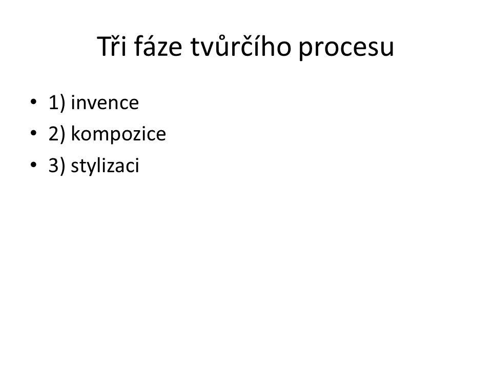 Tři fáze tvůrčího procesu 1) invence 2) kompozice 3) stylizaci