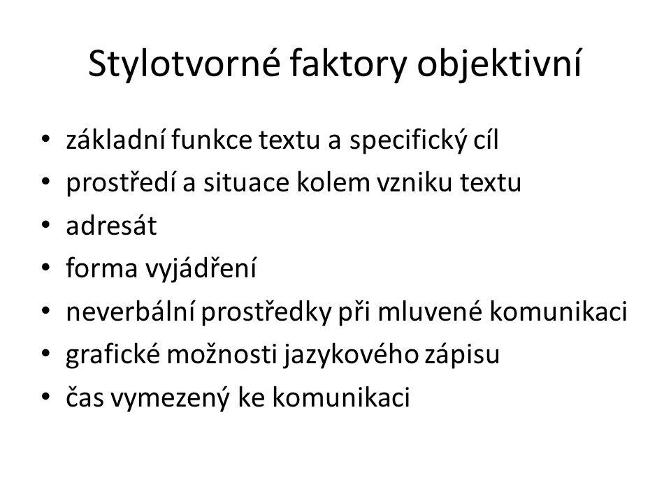 Stylotvorné faktory objektivní základní funkce textu a specifický cíl prostředí a situace kolem vzniku textu adresát forma vyjádření neverbální prostř