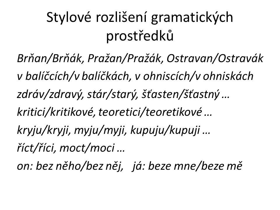 Stylové rozlišení gramatických prostředků Brňan/Brňák, Pražan/Pražák, Ostravan/Ostravák v balíčcích/v balíčkách, v ohniscích/v ohniskách zdráv/zdravý,