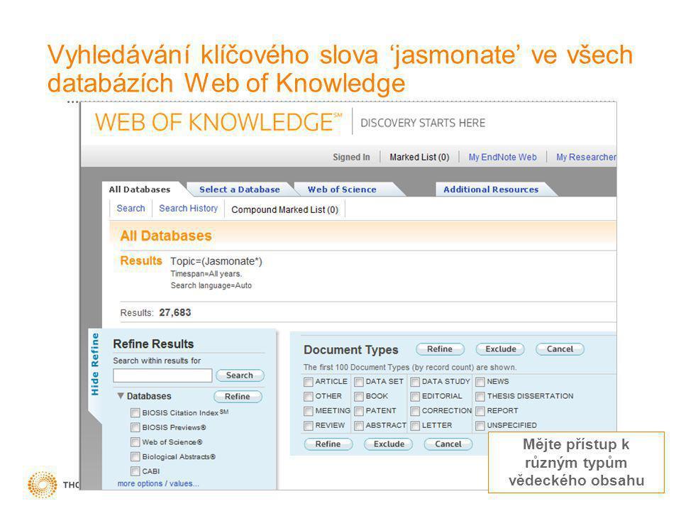 16 Mějte přístup k různým typům vědeckého obsahu Vyhledávání klíčového slova 'jasmonate' ve všech databázích Web of Knowledge