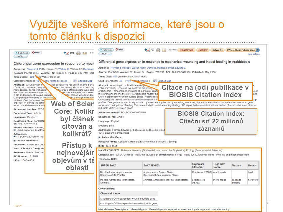 20 Využijte veškeré informace, které jsou o tomto článku k dispozici Tento článek je rovněž obsažen BIOSIS Citation Index Web of Science Core: Kolikrát byl článek citován a kolikrát.